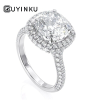 GUYINKU Solid 14K White Gold Center 7mm Cushion Cut EF Color Moissanite Halo Engagement Ring for Women Wedding Gift