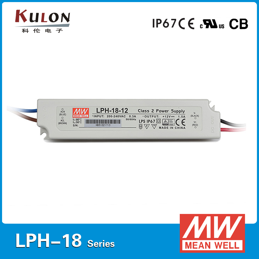 Original MEAN WELL Switch Power Supply LPH-18-12 Single Output 18W 1.5A 12V meanwell led driver 220vac to 12vdc