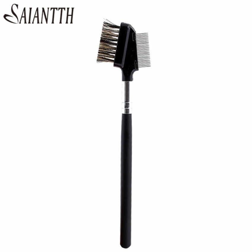 SAIANTTH brosse à cils peigne à sourcils pinceaux de maquillage professionnel dents en acier double outil de maquillage maquiagem noir kabuki bois beauté