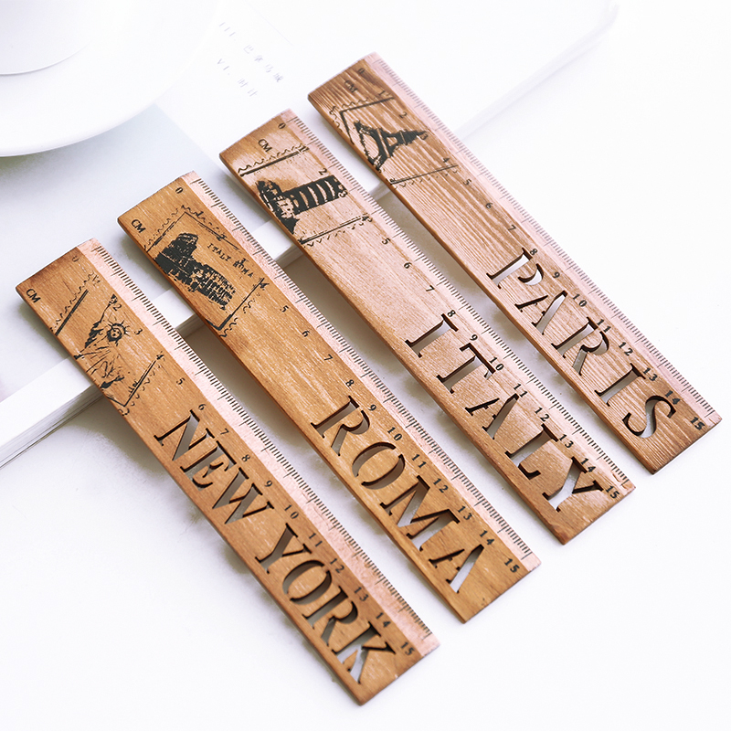 1PC World Country Italy Roma New York Paris Wooden Straight Ruler Measure Study Drawing Student Stationery School Office Supply