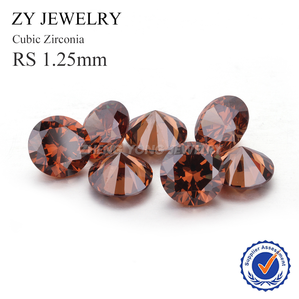 Hot Sale 1.25mm Round Brilliant Cut Loose Coffee Synthetic Cubic Zircon Stone