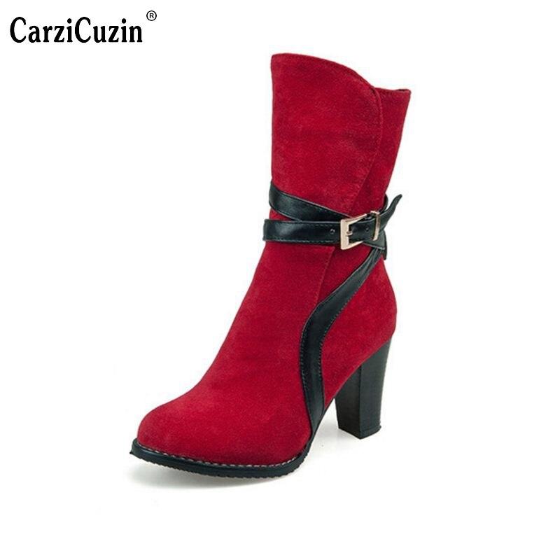 36848af3e69e9d Courte Plate Bottes Talon rouge marron Chaussures 30 Botte Mode Haute  Taille Noir Bureau Chaud forme 48 Travail Mi Demi Femmes ...