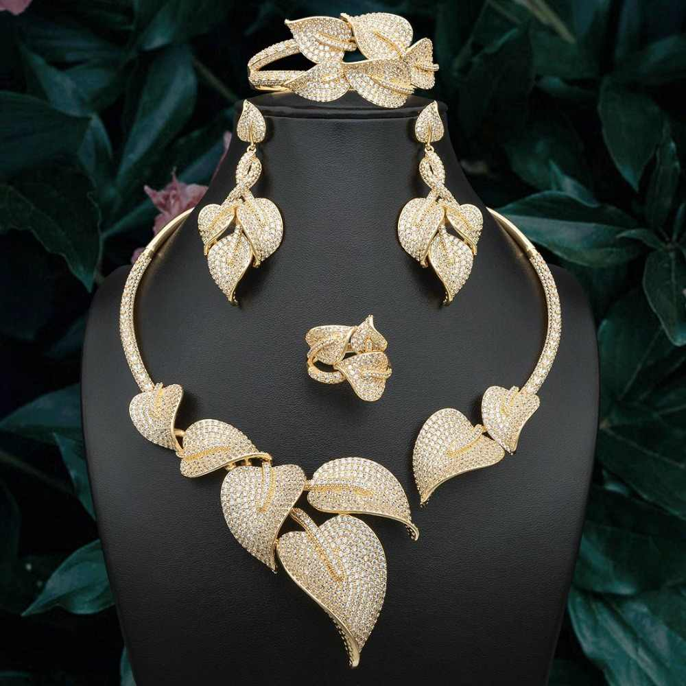 ModemAngel High Quality Luxury Leaves Gold Color Copper Necklace Bangle Earring Ring For Dubai Women Wedding Engagement Jewelry