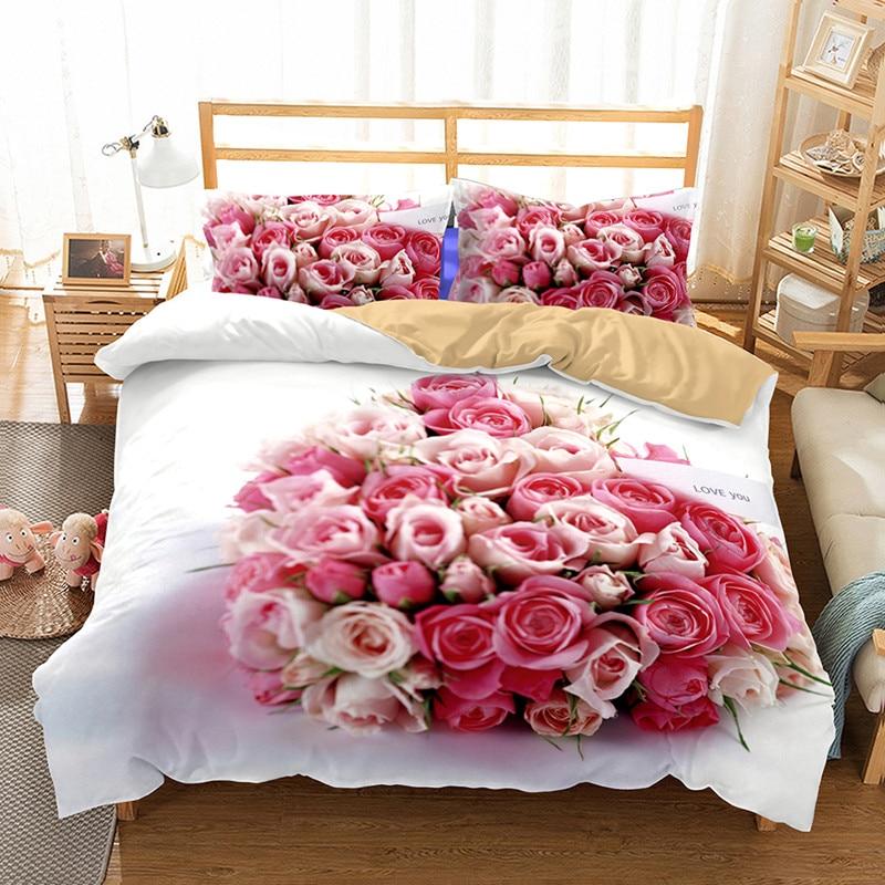Fanaijia flower comforter bedding sets 3d print Duvet Cover with Pillowcase Twill Cozy Home Textiles Queen Sizes 3pcs