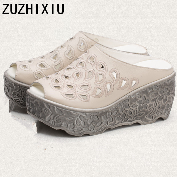 ZUZHIXIU-2018 summer new national real leather women's slippers, Baotou hollow muffin leather shoes, pure handmade slippers