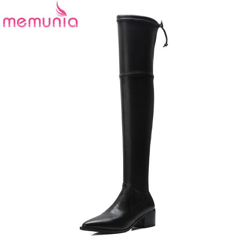 MEMUNIA 2018 popular over the knee genuine leather boots for women pointed toe autumn winter thigh high boots fashion shoesMEMUNIA 2018 popular over the knee genuine leather boots for women pointed toe autumn winter thigh high boots fashion shoes