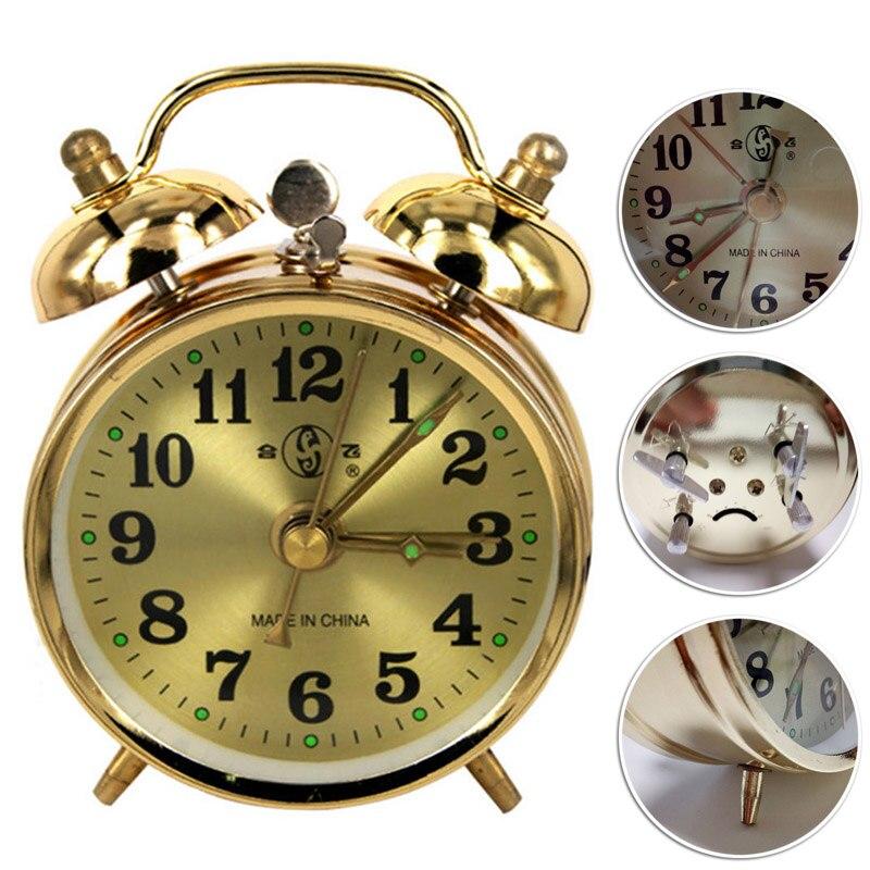Reloj despertador mecánico dorado con cuerda Manual Vintage de Metal, reloj de mesa, exhibición, versión bonita, suministros de decoración para el hogar
