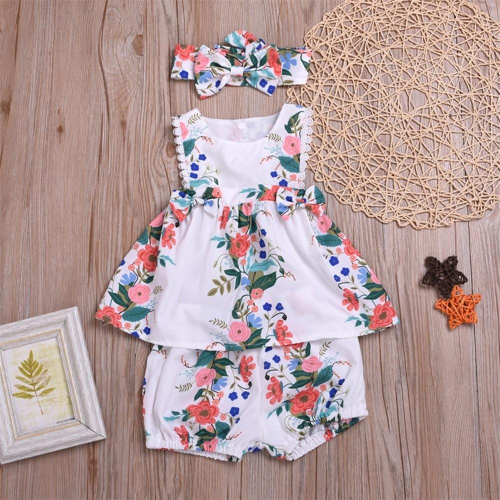 Newborn Baby Girl Clothes Sleeveless Flower Print Tutu Dress Short Pants Headband 3pcs Outfits Summer Clothes