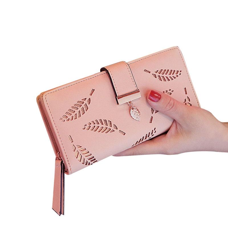 Women Wallets Long Wallet Ladies Buckle Hollow Leaf Purse Wallet Female Women  Purse Card Holder