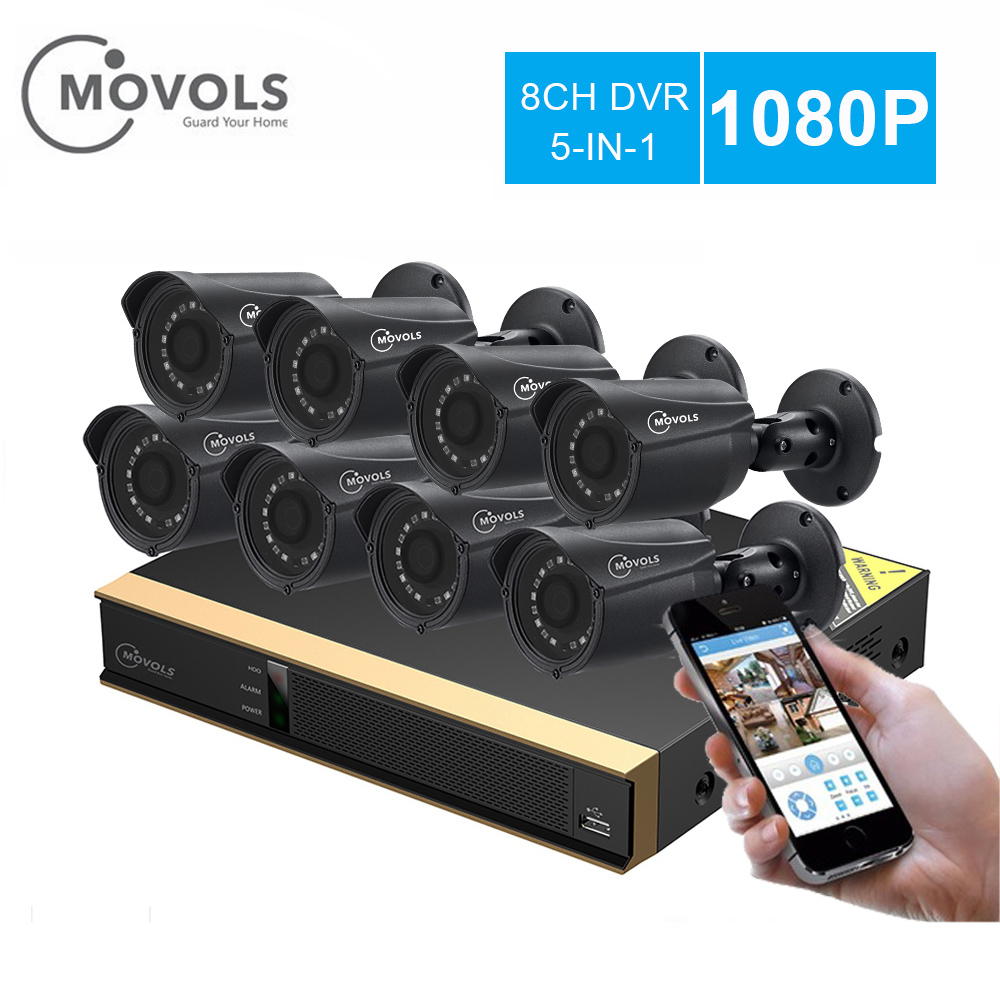 MOVOLS kit CCTV 8 Camera 2mp Outdoor Surveillance Kit IR Security Camera Video Surveillance System 8ch