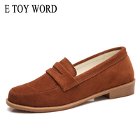 E TOY WORD Cow Leather Flats Loafers Spring Autumn New England Style Women Shoes Casual Retro