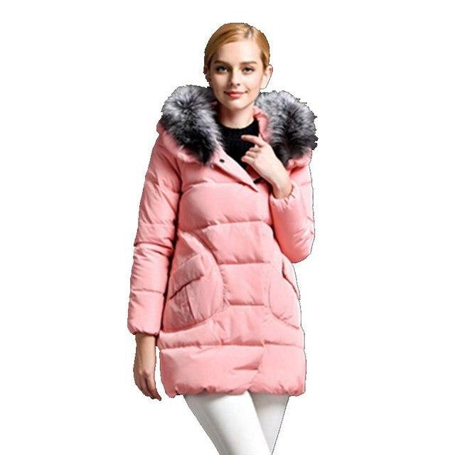 Dama de la moda de Las Chaquetas de Las Mujeres Abajo Abrigo de Invierno 2017 Nuevas Señoras Cuello de Piel gruesa Chaqueta Con Capucha Mujer Delgada Larga Abrigos Ropa Y866