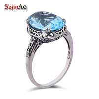 Szjinao High-end-mode luxus herz ring muster stil alte aquamarin 925 sterling silber ring bijouterie china