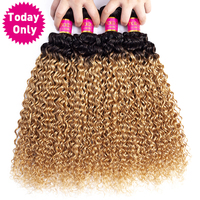 TODAY ONLY Mongolian Kinky Curly Hair 4 Bundles Ombre Human Hair Bundles Curly Human Hair Blonde Bundles Remy Hair Extensions
