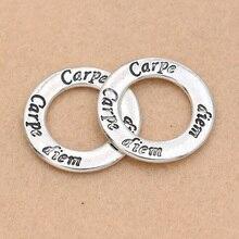 4pcs Antique Silver Plated Carpe Diem Charm Pendants Jewelry DIY Jewelry Making Bracelet Handmade Craft 30mm