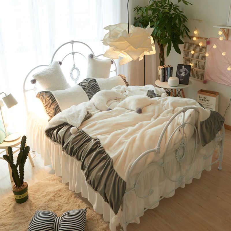 Weiß Rosa Grau Fleece Stoff Koreanische Prinzessin Stil Bettwäsche Set Berber Fleece Flanell Samt Bettbezug Bett Rock Kissenbezüge