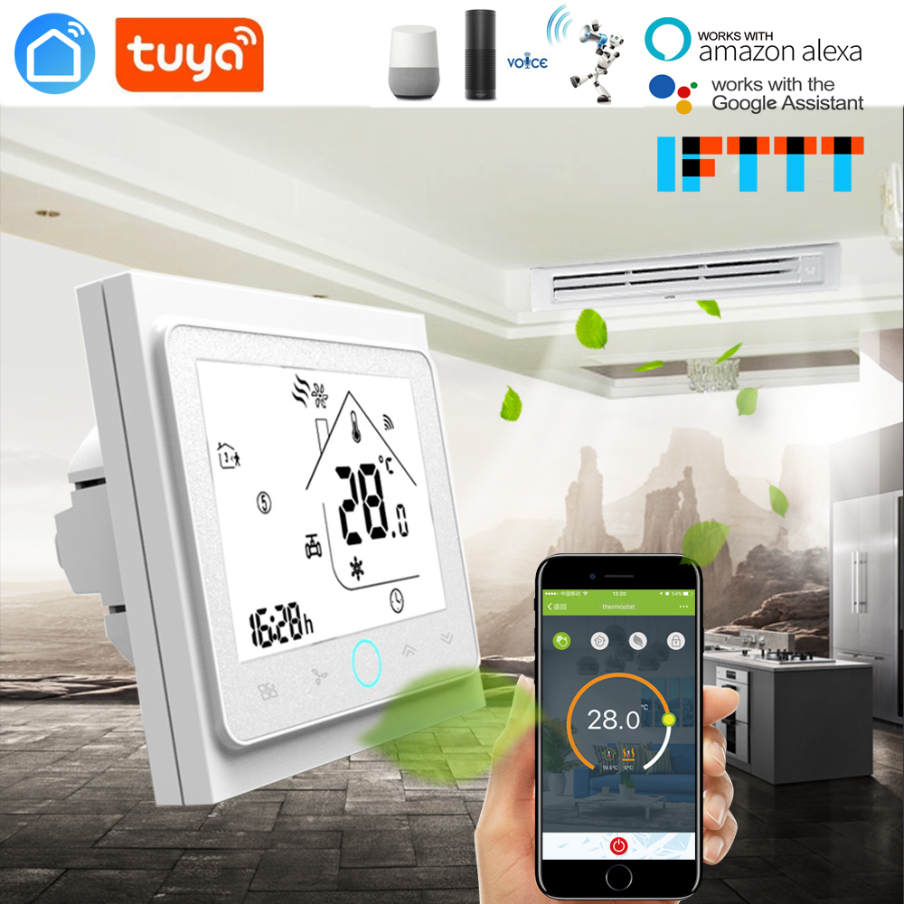TUYA 2 Pipe 4 Pipe  Fan Coil Programmable WiFi Central Air Conditioner Thermostat Temperature Controller Unit Work With Alexa