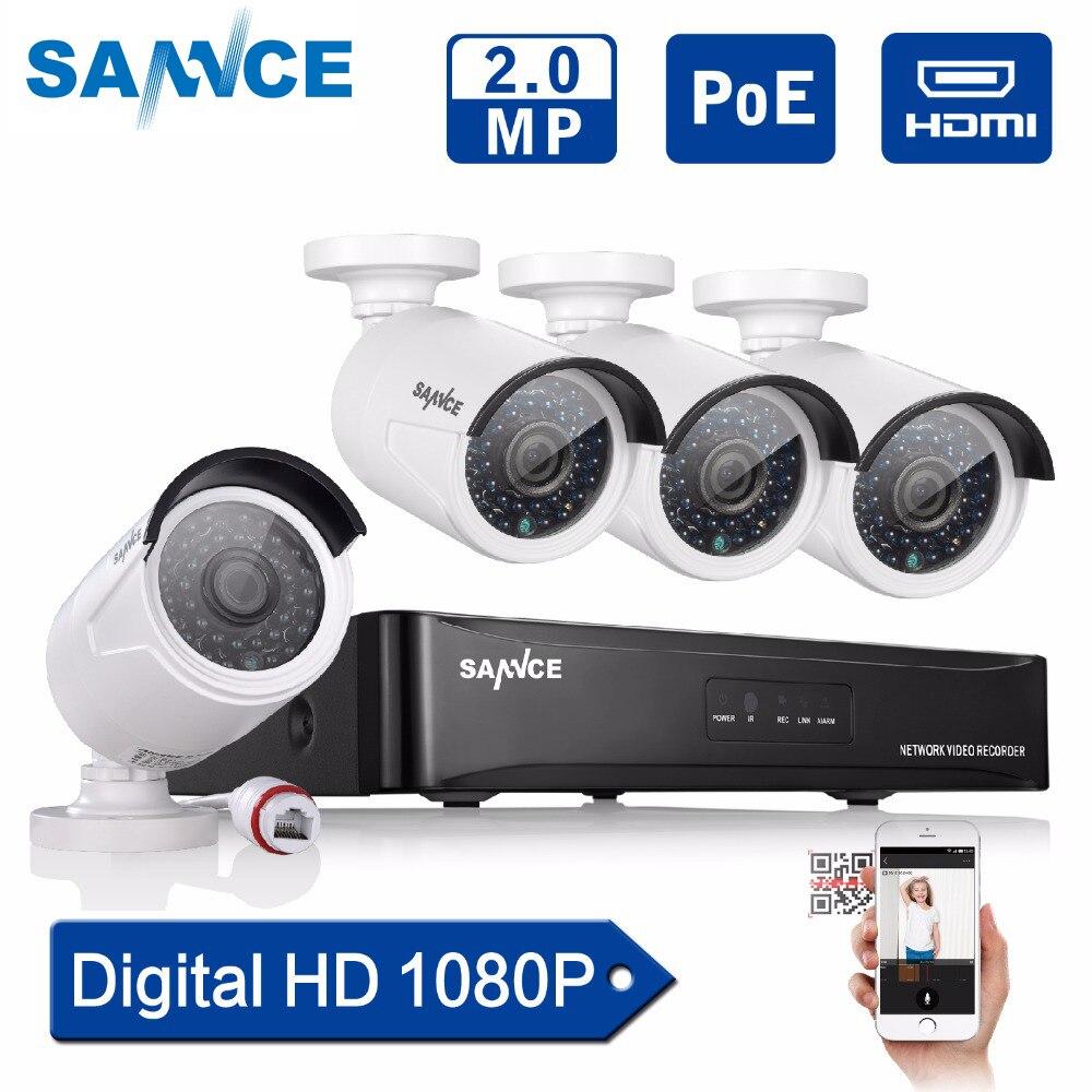 SANNCE 4CH 1080P POE CCTV System full HD PoE CCTV NVR kit 2 0MP Security camera