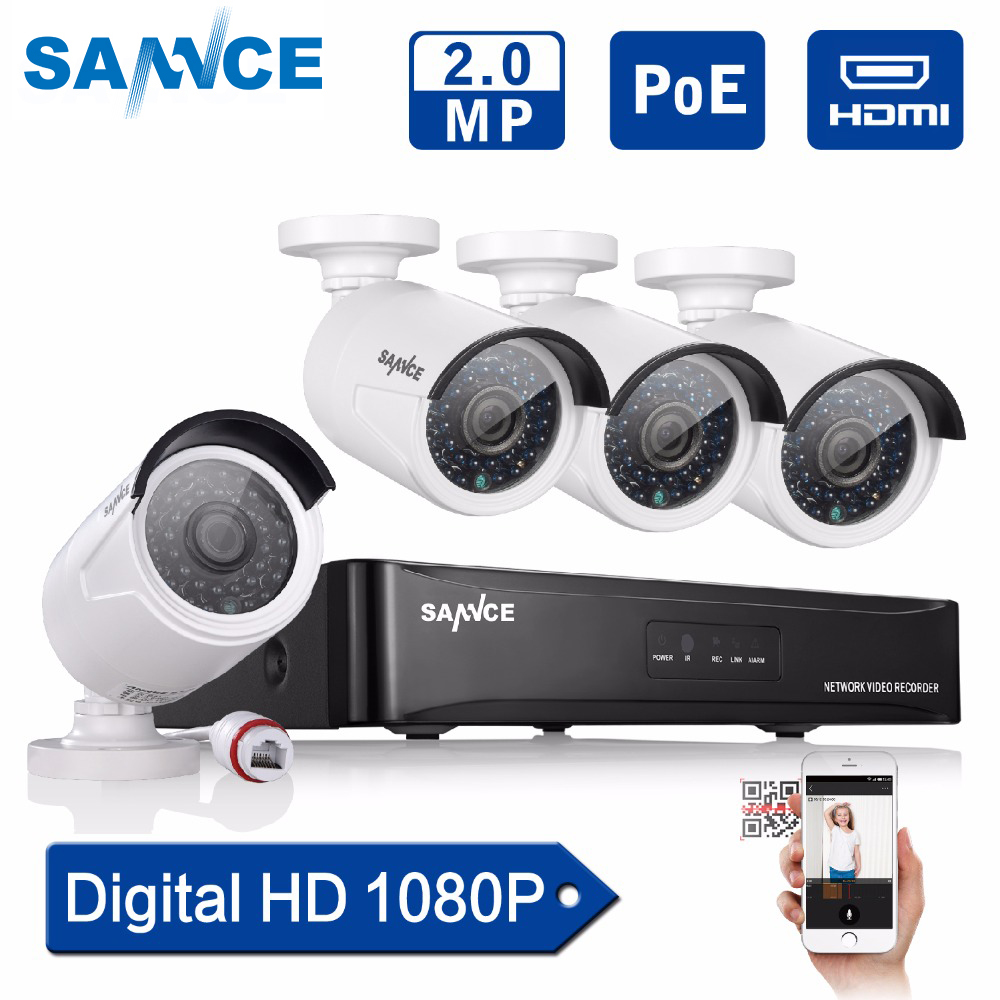 SANNCE 4CH 1080P POE CCTV System full HD PoE CCTV NVR kit 2.0MP Security camera infrared outdoor 1080p Video System