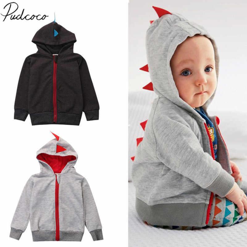 Chaqueta de algodón con cremallera con capucha de dinosaurio de manga larga para niños y bebés de otoño e invierno divertida 2018 ropa de dibujos animados 0-3Y