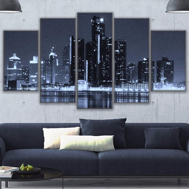 Canvas Painting Frame Wall Art For Living Room Decor 5 Pieces Scenic Houston  Cityscape Poster HD