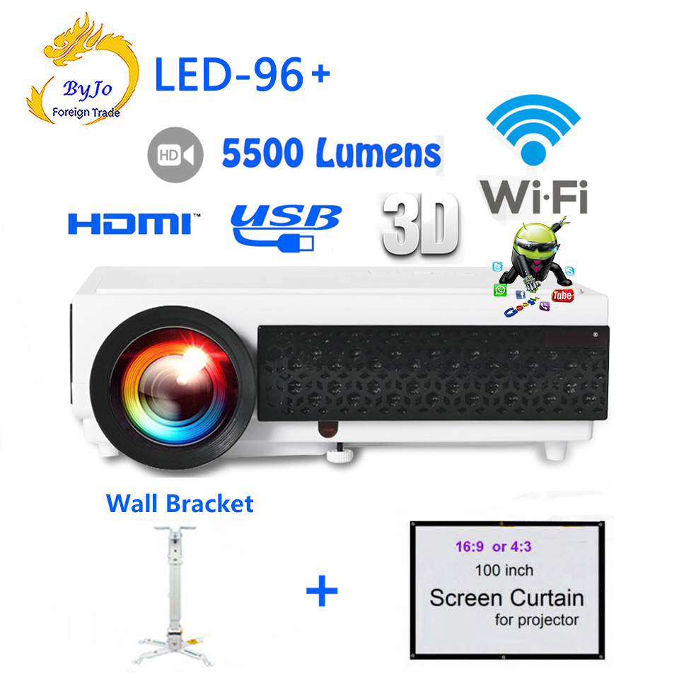 LED96+ Android WIFI Video HDMI USB DVB-T 1280x800 Full HD 1080P Home Theater 3D LED projector with Bracket and Curtain bt96 atco led96 5500lumens wxga 1280x800 home theater led projektor 1080p hd digital 3d video hdtv hdmi usb tv lcd projector beamer