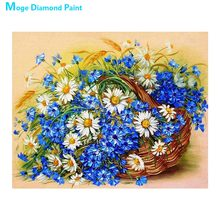 Blue white floral basket Moge Diamond Painting Full Round New DIY Sticking Drill Cross Embroidery 5D simple Home Decoration