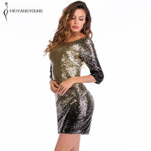 12781a66f3d29 Women Plus Size Short Sleeve Black Golden Shiny Festival Prom Tight Sequin  Dress Elegant Female Sexy Open Back Short Party Dress
