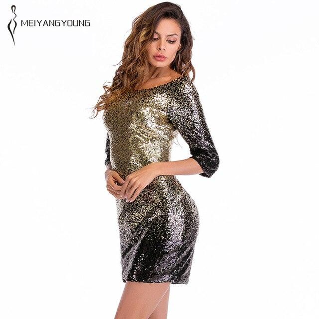Women Plus Size Short Sleeve Black Golden Shiny Festival Prom Tight ...