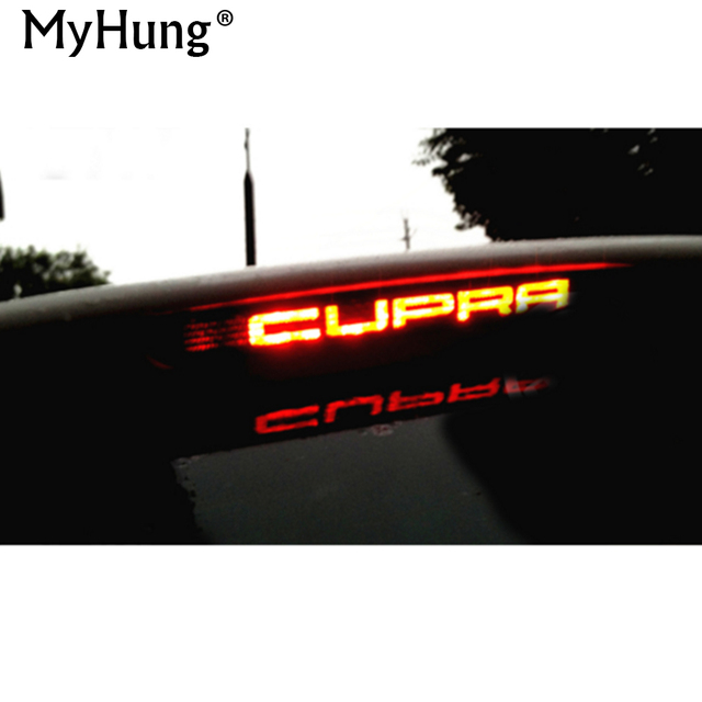 Carbon fiber stickers and decals high mounted stop brake lamp light car styling for seat leon