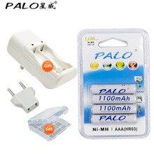 Free shipping 4 pcs 1100mAh 1.2v AAA rechargeable battery+ 2 slots rechargeable battery charger