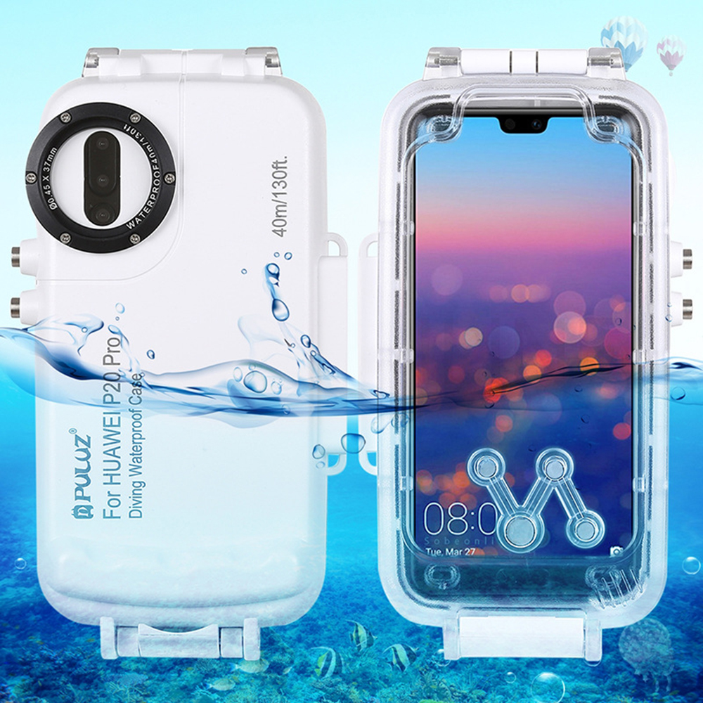 40m 130ft Maximum Depth Underwater Diving Case Waterproof Full Cover Protection for Huawei P20 Mate 20