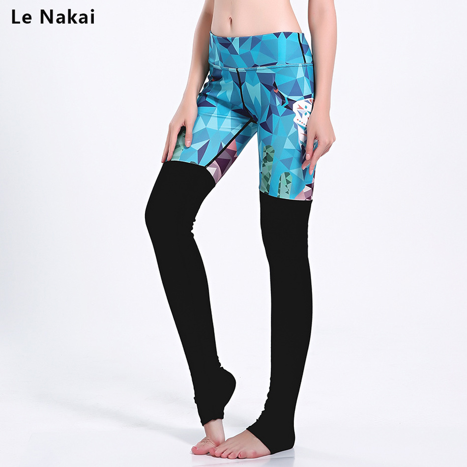 Le Nakai Goddess Ribbed Printed Leggings for Women High Waist Skinny Yoga Pants Fitness Workout Tights Sports Gym Sportswear