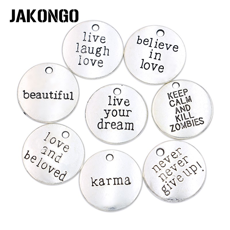 10pcs/lot Antique Silver Plated Live your Dream Karma Believe in Love Charms Pendants for Jewelry Making DIY Handmade 20mm