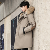 Mid winter long down jacket men's hair colla hooded raccoon hair thickened thermal coat Korean casual wear.