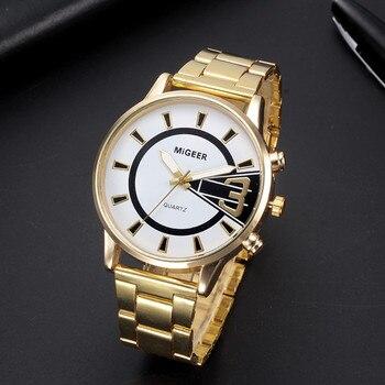 Fashion Men Crystal Stainless Steel Analog Quartz Wrist Watch Bracelet stainless men's wrist watches luxury design quartz watch