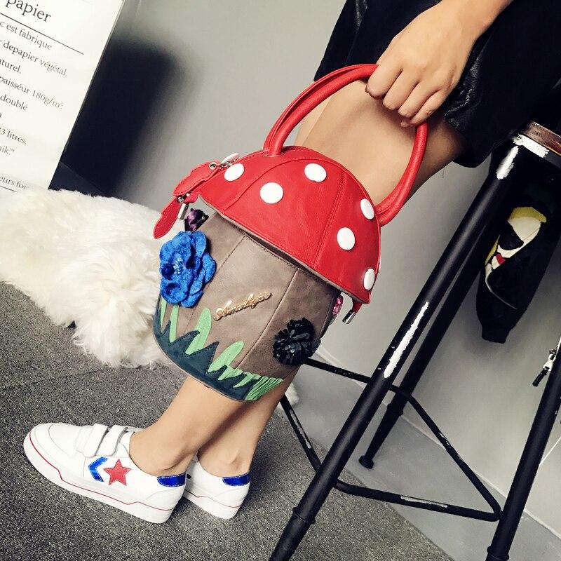 Mignon champignon sacs à main PU fourre-tout sacs Itaily Design créatif personnalité sacs contraste Fun enfants fille femmes vacances cadeaux 2018 - 6