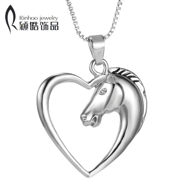 Fashion New jewelry plated white K Horse in Heart Necklace Pendant Necklace for women girl mom gifts animal necklaces