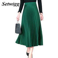 New Retro Pleated Long Spring Skirts High Elastic Waist Narrow Pleated Accordion Solid Green Gray Satin