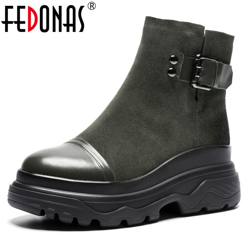 FEDONAS New Women Wedges High Heels Martin Shoes Woman Buckles Cow Suede Short Basic Boots Round Toe Female Motorcycle Boots