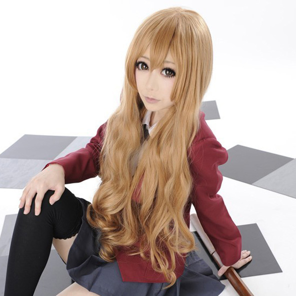 TIGER DRAGON Toradora! Aisaka Taiga 80cm Long Linen Brown Wavy Heat Resistant Cosplay Costume Wig