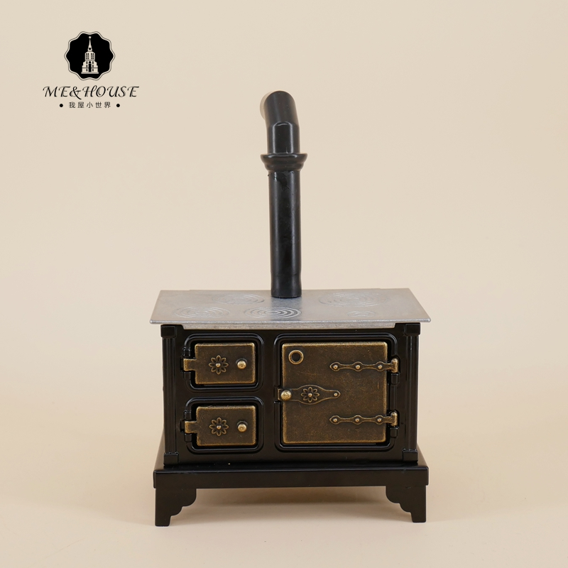 Doll House Metal Cooking Bench Old-fashioned Kitchen Stove Chimney Mini Dolls Kitchen Accessories