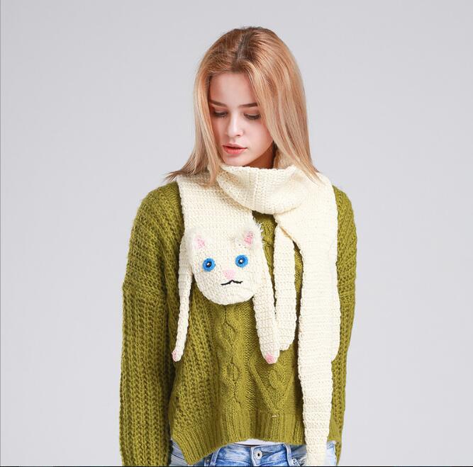 Fashion New Woman Manual Knitted Wool Scarf Fox Crocodile Cat Panda ...
