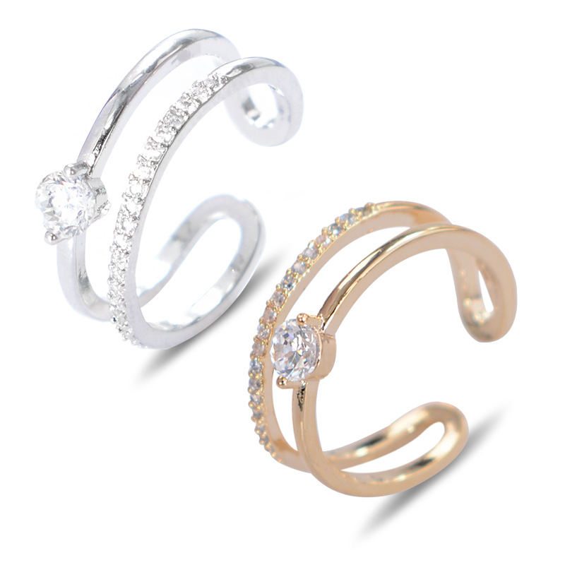 2017 Classic Shiny Crystal Female Jewelry Women Lady Wedding Party Alloy Open Finger Ring Best Gift for Wife Lover P2