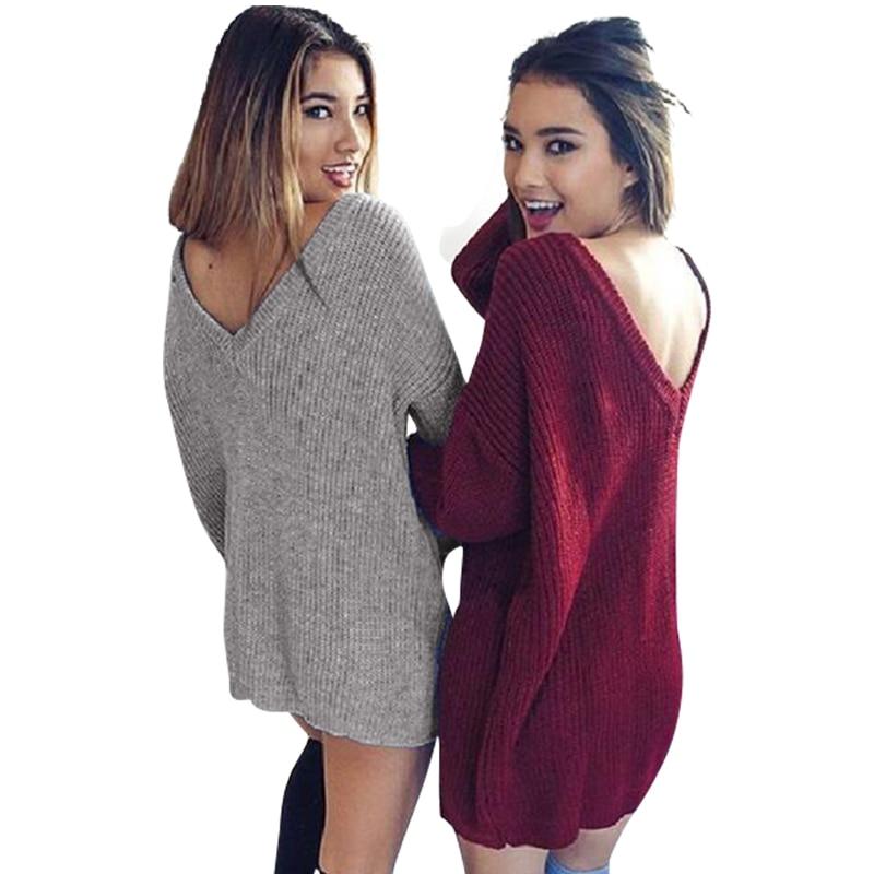 New Fashion Women Sweater Dress Sexy Deep V Neck Knitted Sweater Dress Long Sleeve Dress Plus Size LJ5645M