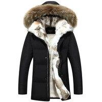 Горячее предложение 2018 с капюшоном Для мужчин зимние куртки и пальто Для мужчин длинные меховой воротник утка вниз Куртка Верхняя одежда Дл