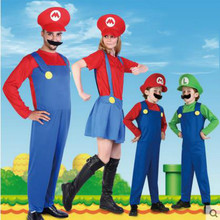 Children Adult Man Women Funy Cosplay Costume Super Mario Luigi Brothers Plumber Fancy Dress Up Party Costume Free Shipping