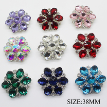 5pcs/lot 38mm Rhinestone Shank Glass Buttons for Needlework Metal Snap Button Clothes Scrapboking Accessories Decorative