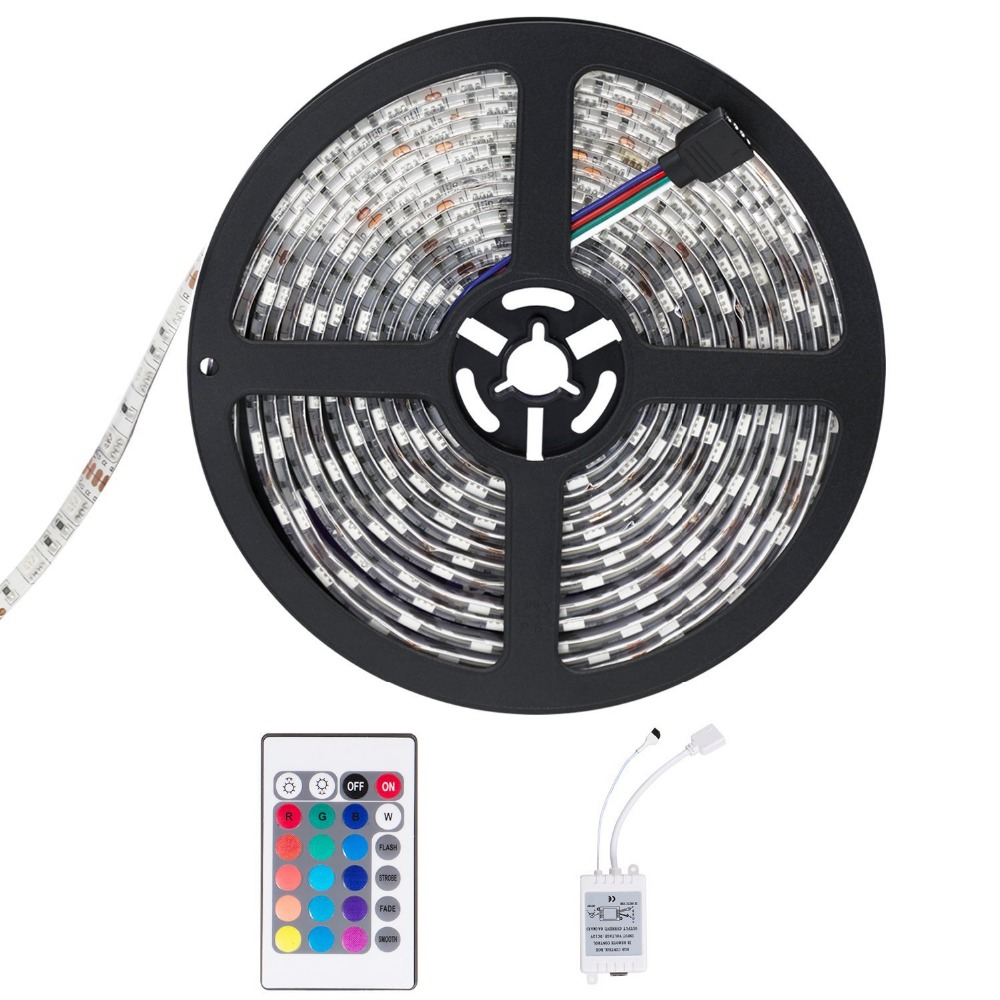 WFTCL <font><b>Ruban</b></font> <font><b>LED</b></font> <font><b>Etanche</b></font> <font><b>5M</b></font> 3528 RGB Multicolore SMD 300LED Bande Flexible Lumineux Strip Light + 24Keys RGB light controller