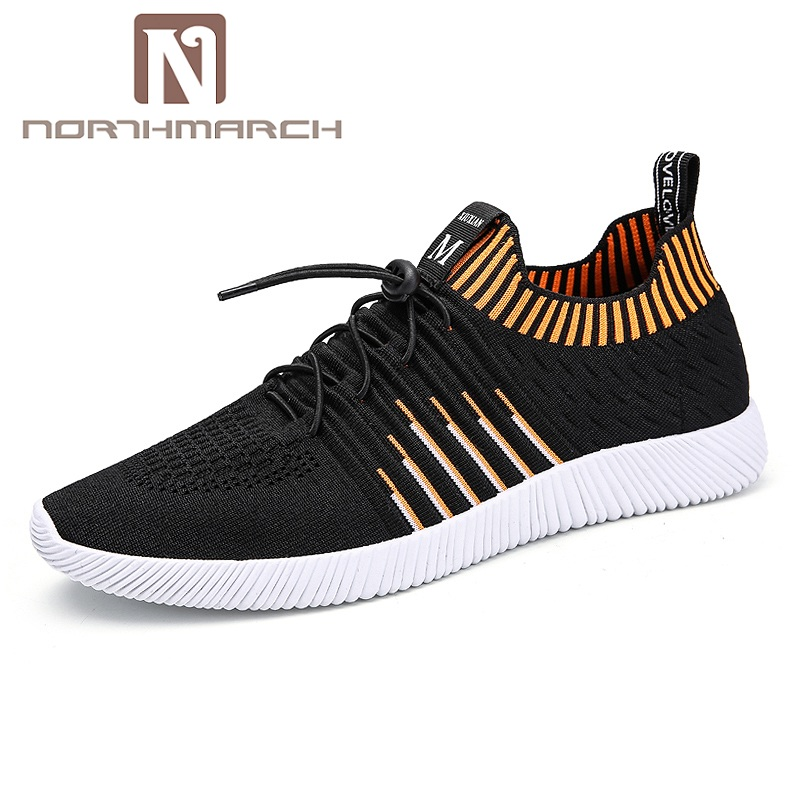 NORTHMARCH New Fly-Knitted Shoes For Man Sneaker Male Fashion Lace-Up Sock Shoes Designer Causal Shoes Men Summer Shoes